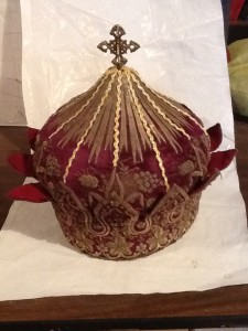 19th century priest crown silver and gold thread
